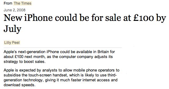 The original times article predicting the iPhone 3G
