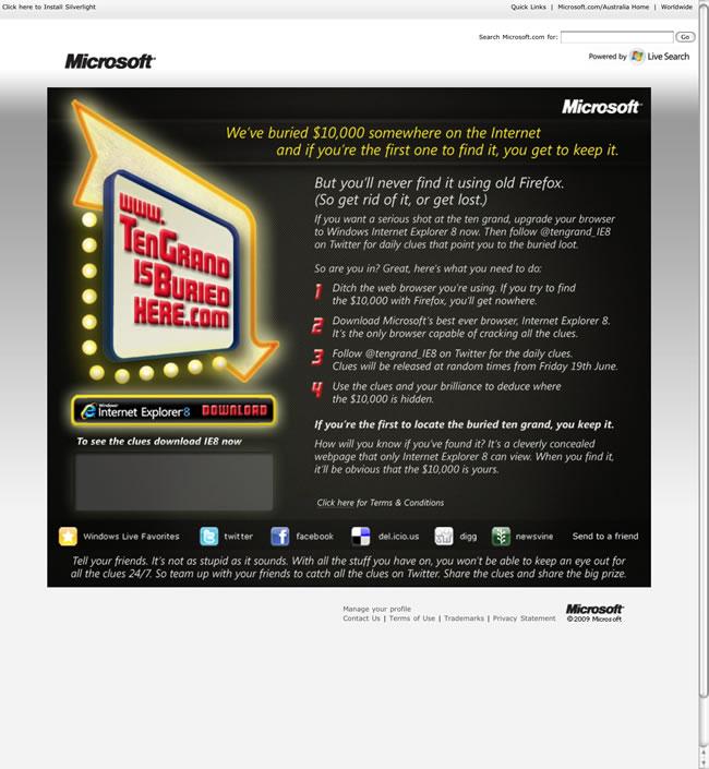 Microsoft Ten Grand Browser Advert (Firefox version)