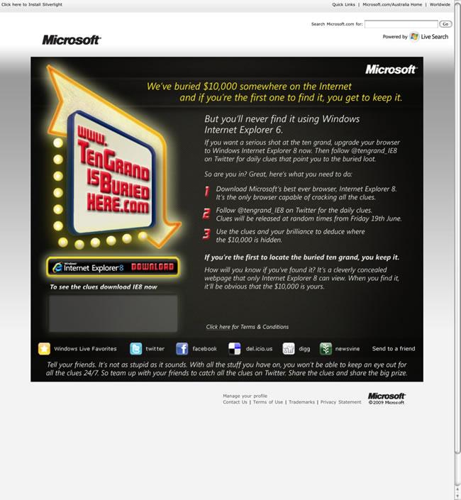 Microsoft Ten Grand Browser Advert (IE6 version)