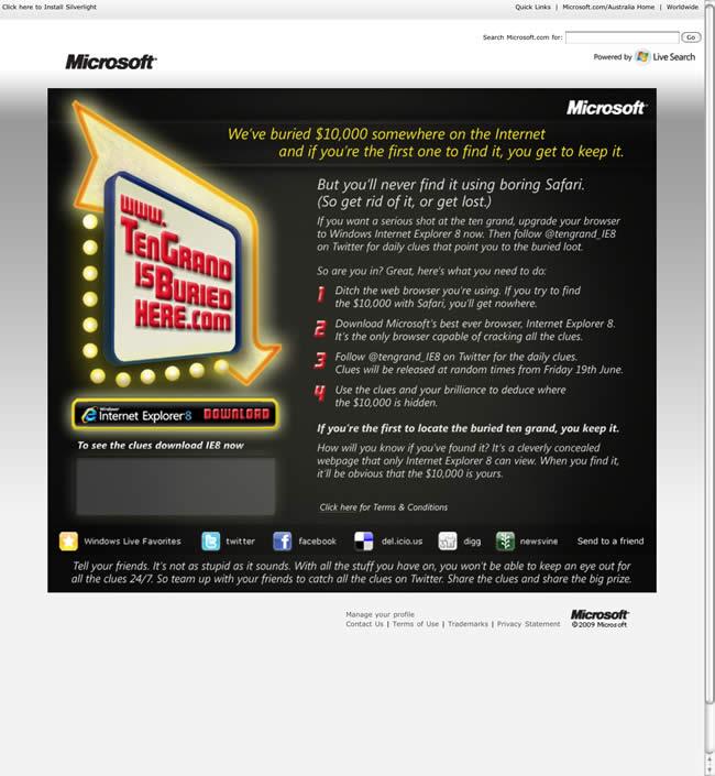 Microsoft Ten Grand Browser Advert (Safari version)