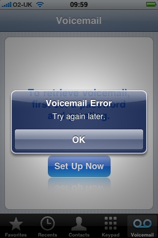 Visual voice mail doesn't work with the default Simplicity tariff