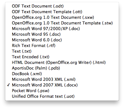 File formats supported by LibreOffice