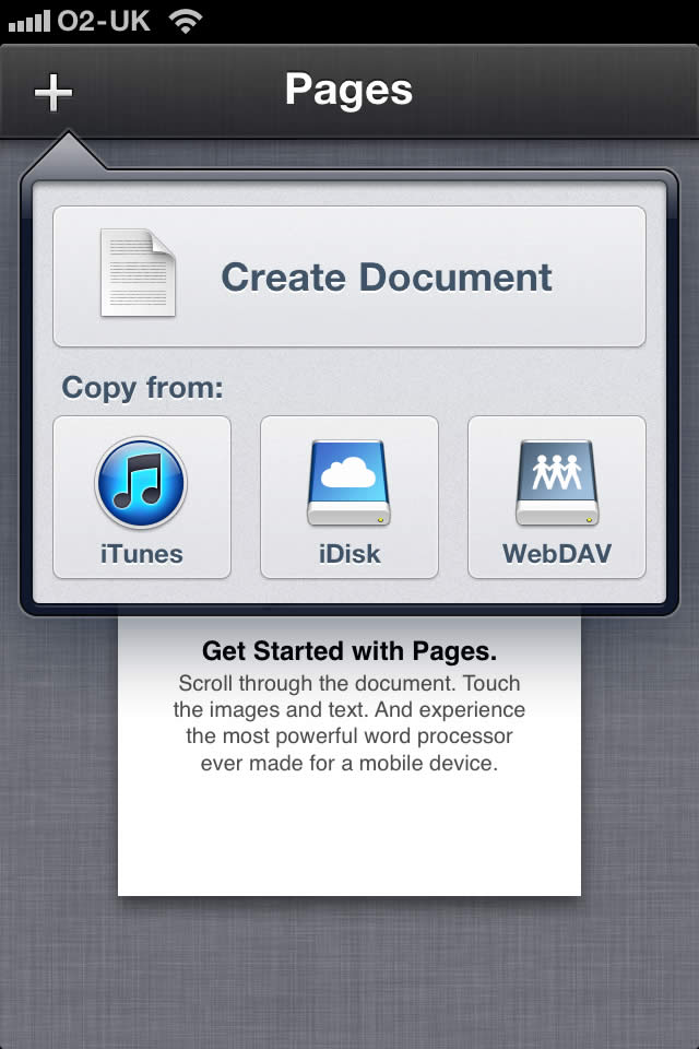 Mobile Pages file management options