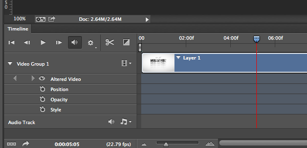 Photoshop Video Timeline Panel