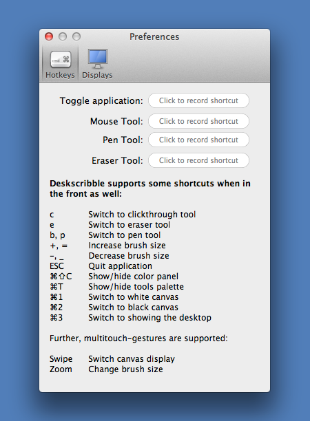 Deskscribble - Options