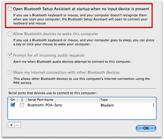 Bluetooth Dialog Box in OS X