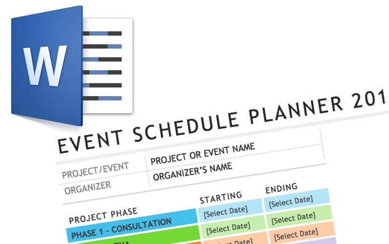 Video Word Event Schedule Template  Elaine Giles
