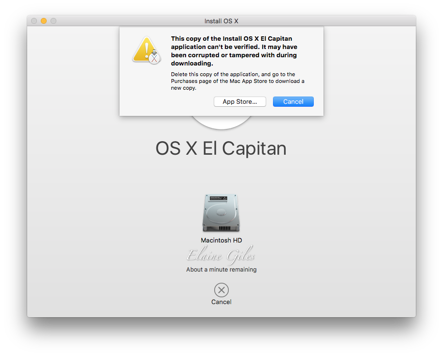 Error Message Shown with Older OS X Install DIsks