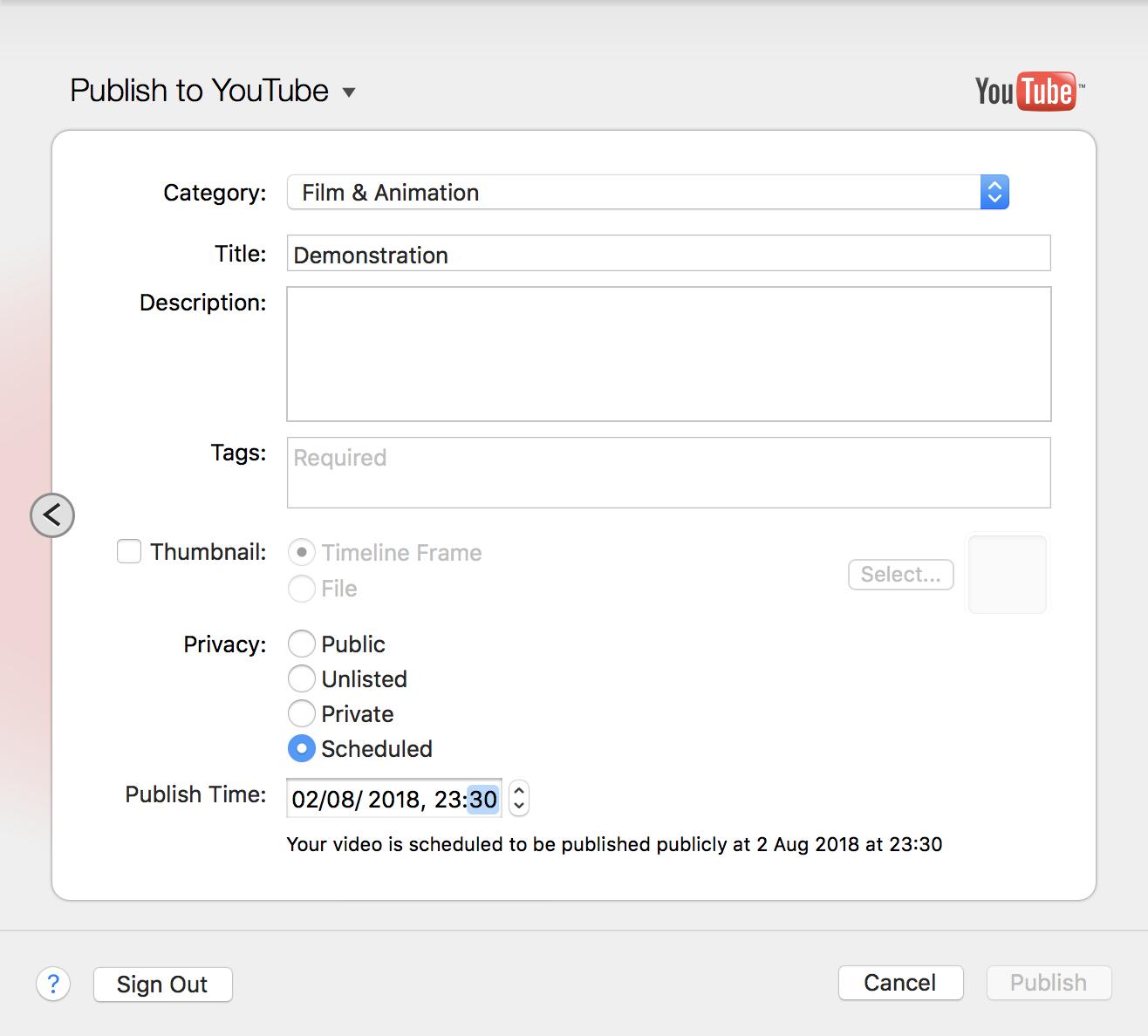 ScreenFlow 8 YouTube Scheduled Upload